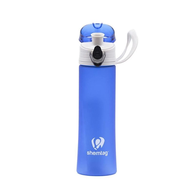 Shemtag Blue frosted water bottle 13.5oz with lid for sports & camping