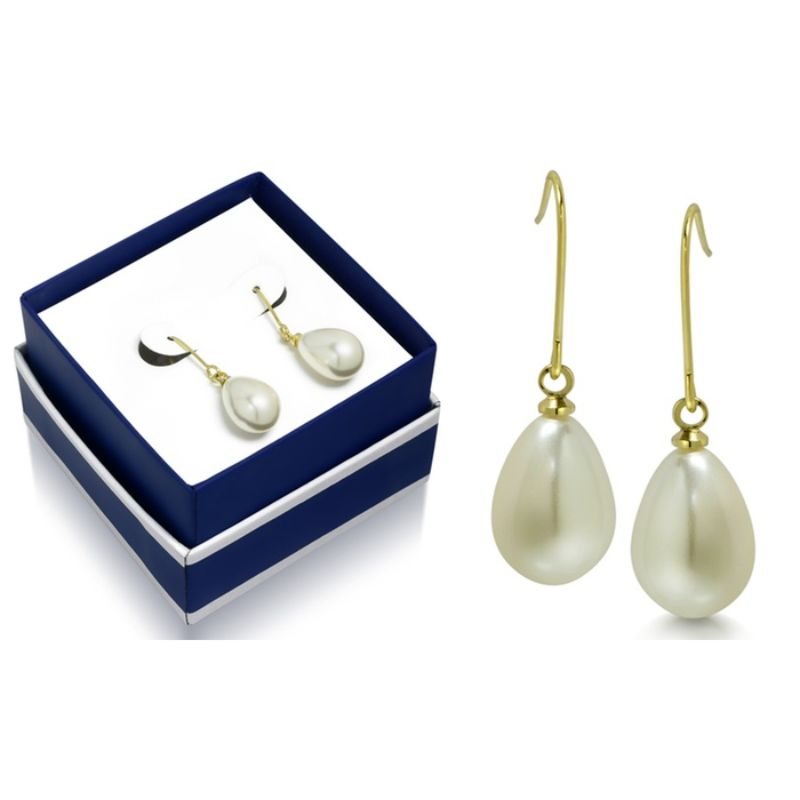 Pear Shape Pearl Hanging Earrings in 18K Gold Plated with a Gift Box-Daily Steals