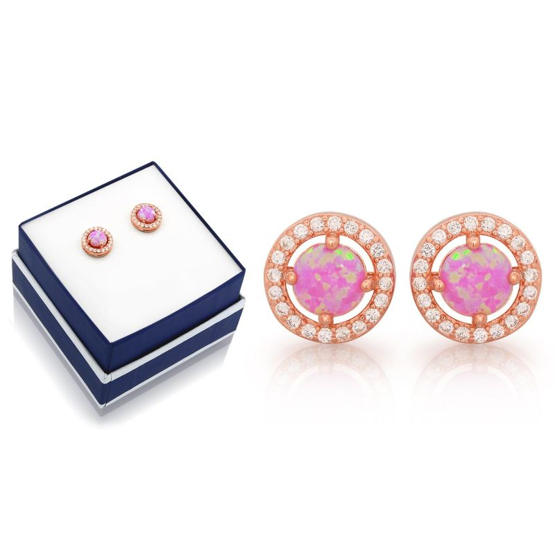 Pink Opal Halo Studs in 18K Rose Gold Over Sterling Silver-Daily Steals