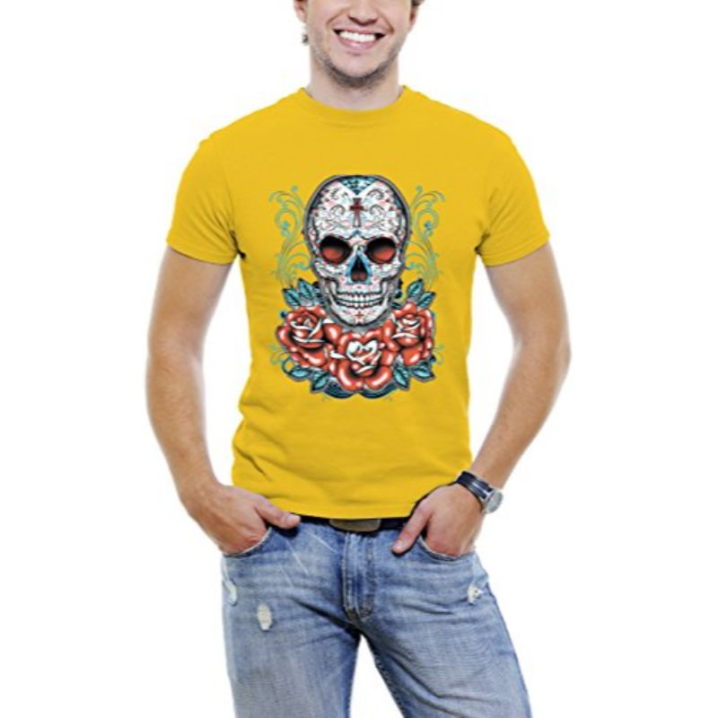 Skull Roses Tattoo - Men's T-Shirt-Yellow-S-Daily Steals