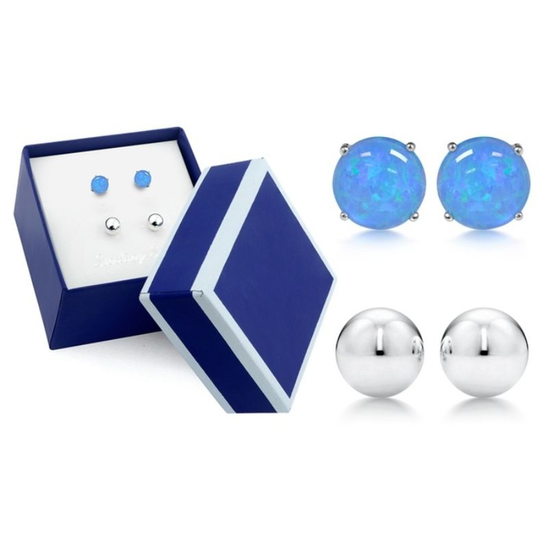 Sterling Silver Blue Opal and Ball Stud Duo Set In a Box-Daily Steals