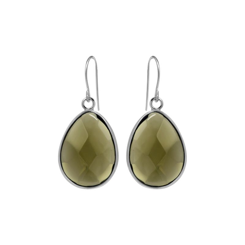 Sterling Silver Created Smoky Quartz Earrings-Daily Steals