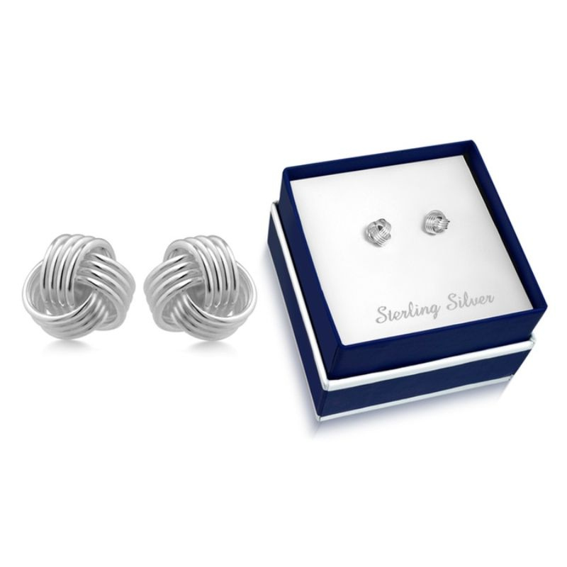 Sterling Silver Love Knot Stud Earrings-Daily Steals
