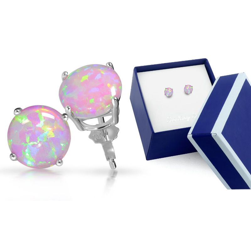 Sterling Silver Pink Opal Stud Earrings in a Box-Daily Steals