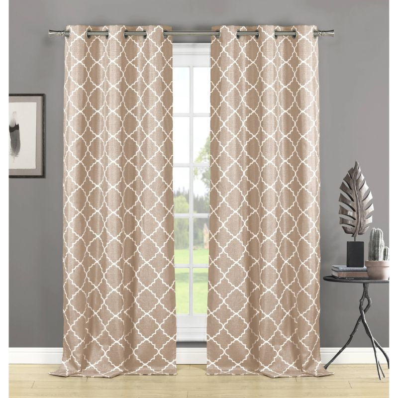 Geometric Print Window Blackout Curtains Pair Panel Set of 2