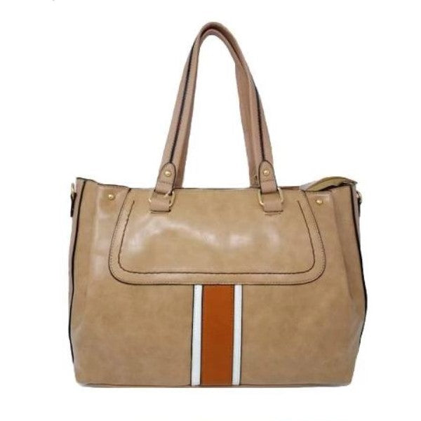 Vintage Striped Leather Tote Handbag-Apricot-Daily Steals