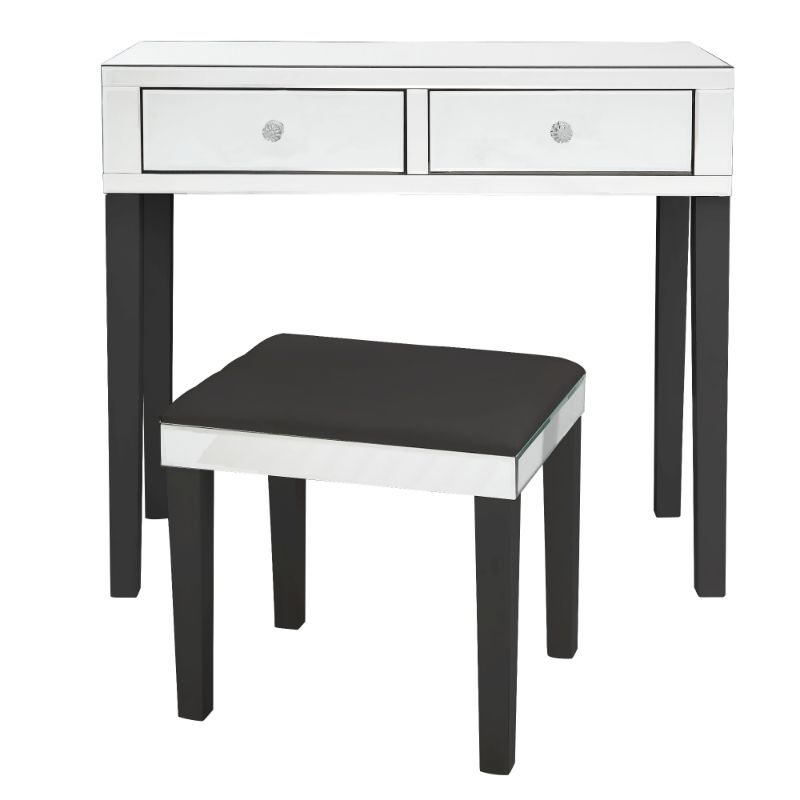 Milano Modern Contemporary Mirrored 2-Drawer Vanity Table with Stool Set-Black-Daily Steals