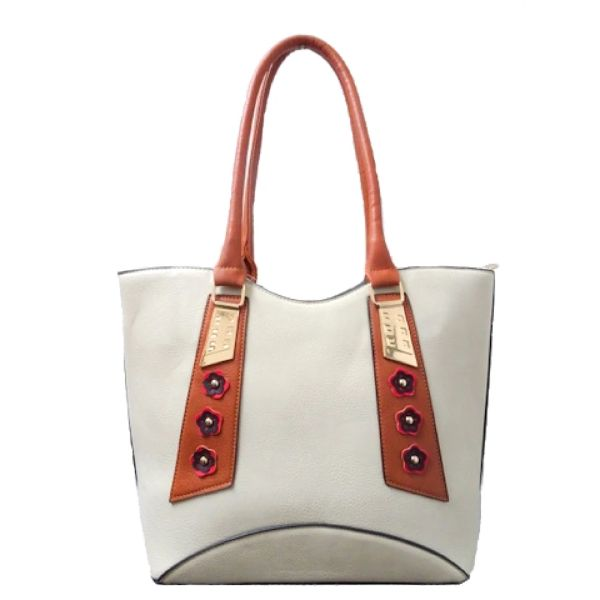 Stylish Tote Vintage Leather Handbag-Beige-Daily Steals
