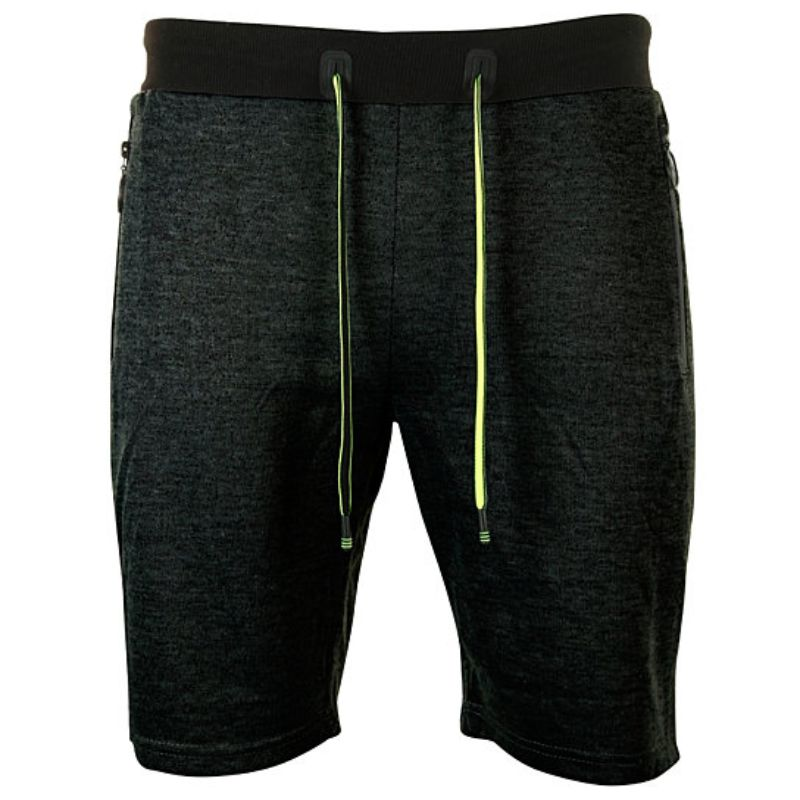 Men's Marled French Terry Shorts With Drawstring & Zippered Pockets-Black-Small-Daily Steals