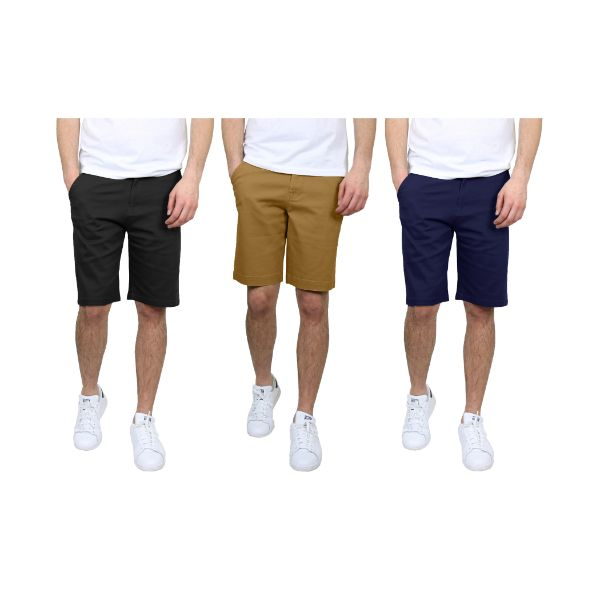 Men's 5-Pocket Flat-Front Stretch Chino Shorts - 3 Pack-Black & Timber & Navy-30-Daily Steals
