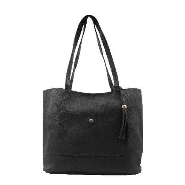 Barbados Collection Leather Tote Handbag-Black-Daily Steals