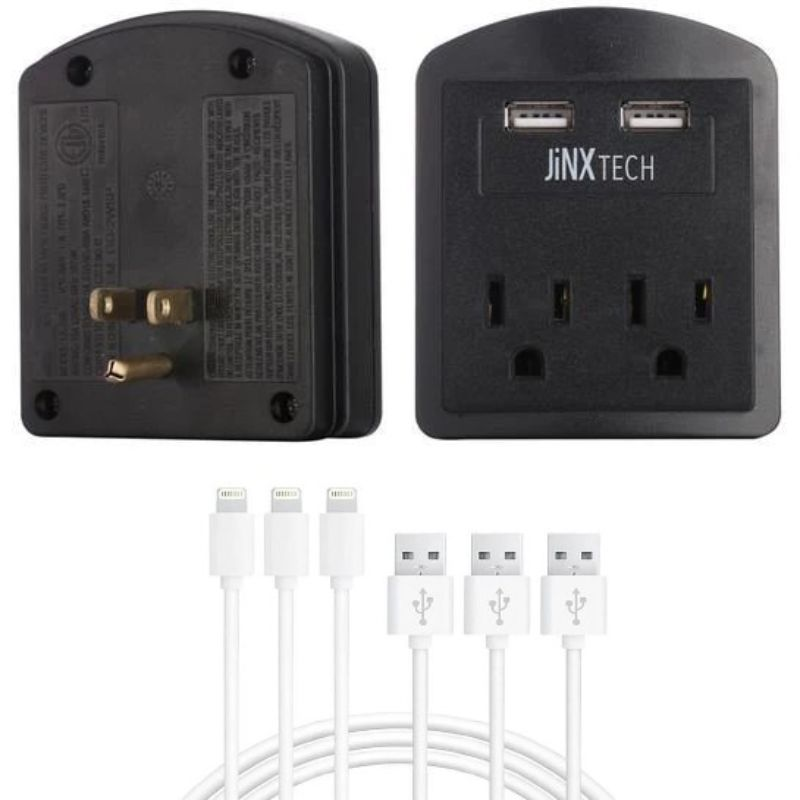 Certified 10ft Lightning Cables & Outlet Wall Tap Combo - 3 Pack-3-Pack Cable - Black Outlet-Daily Steals