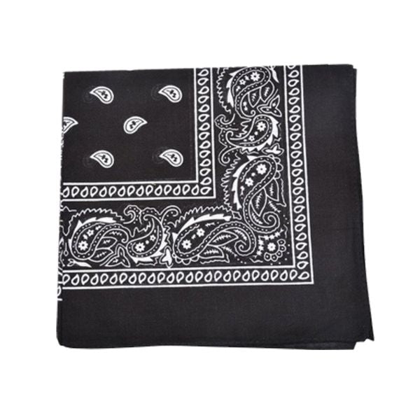 100% Cotton 18 Pack Bandana - 22 x 22-Paisley Black-Daily Steals