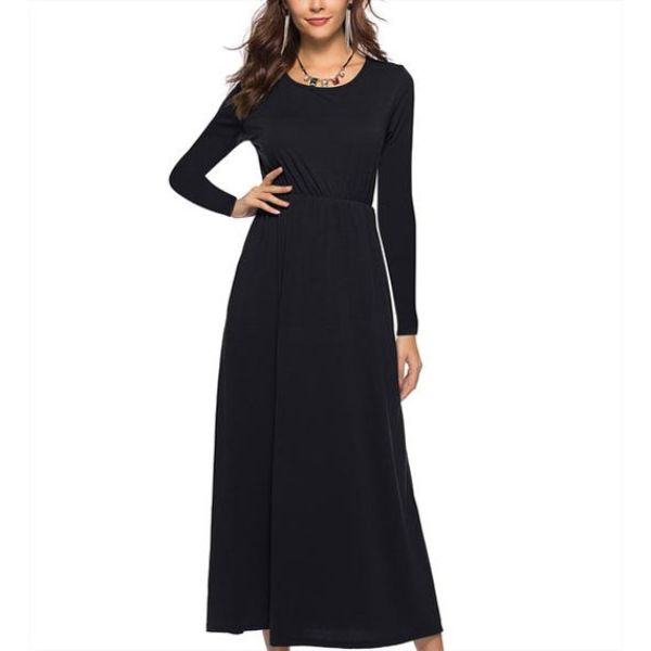 Maxi robe unie manches longues-Noir-Large-Daily Steals