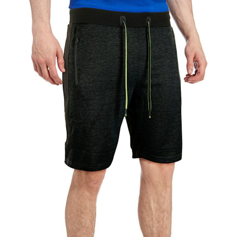 Men's Marled French Terry Shorts With Drawstring & Zippered Pockets-Daily Steals