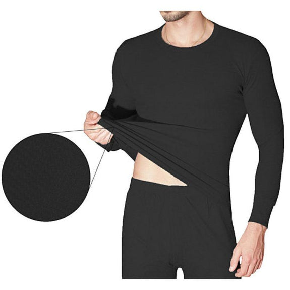 2-Piece Men's Super Soft 100% Cotton Waffle Knit Thermal Underwear Set-Black-Small-Daily Steals