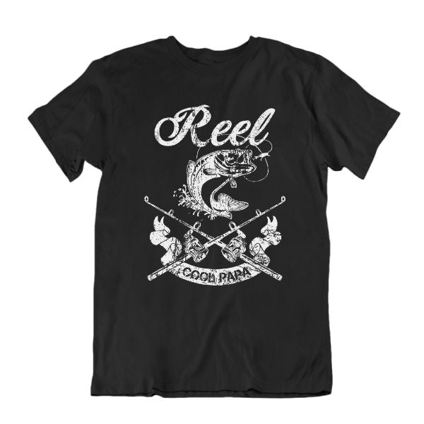 Reel Cool Papa' Funny Fishing T Shirt-Black-S-Daily Steals