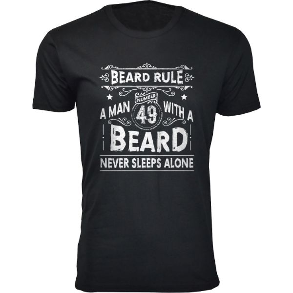 Men's 'Greatest Beard' T-shirts-S-Beard Rule A Man 49 With A Beard - Black-Daily Steals
