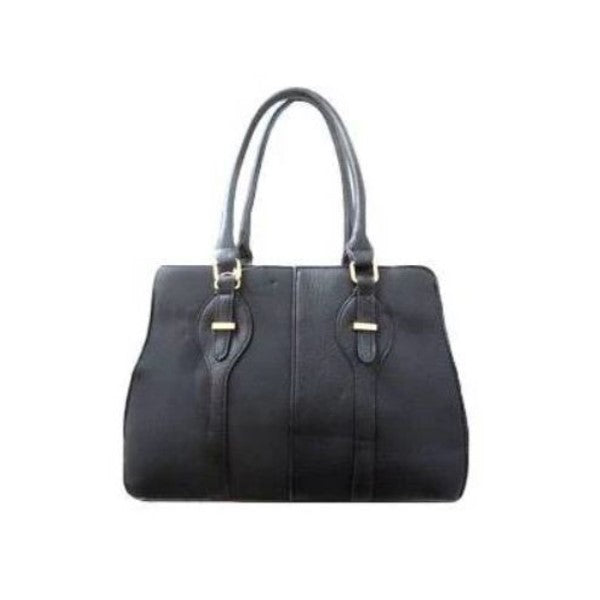 Two Tone Satchel Leather Handbag-Black-Daily Steals