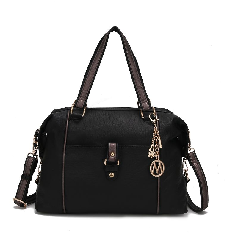 Opal Satchel Handbag by MKF-Black-Pewter-Daily Steals