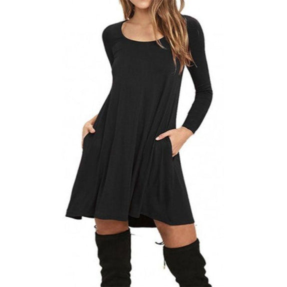 Stylish Full Sleeve Dress with Pockets - 4 Colors-Black-Small-Daily Steals