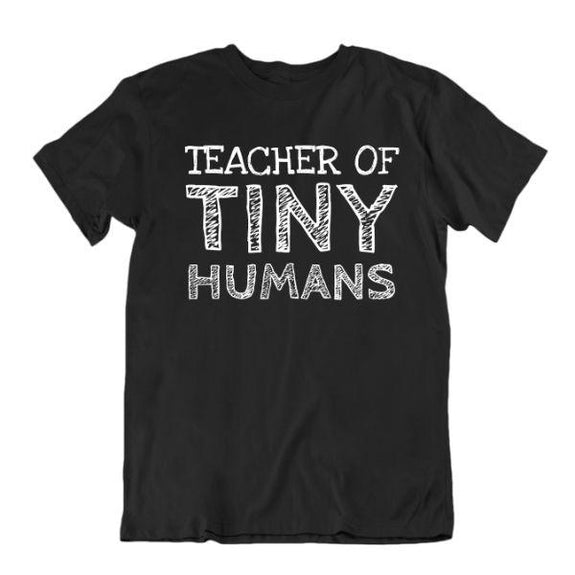 """Teacher of Tiny Humans"" Funny T-Shirt-Black-Small-Daily Steals"