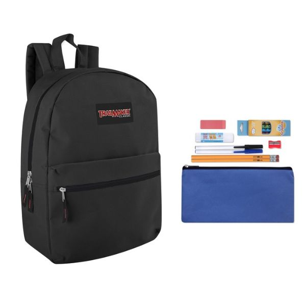 "Trailmaker Classic 17"" Backpack + 12 Piece School Supply Kit-Black-Daily Steals"