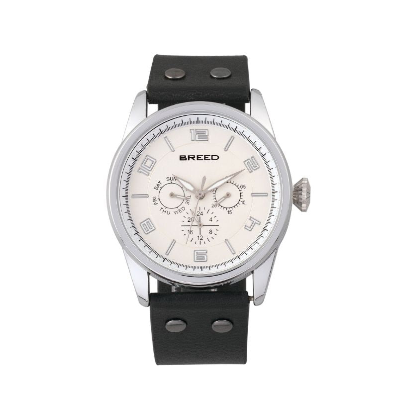Breed Rio Leather-Band Watch w/Day/Date-Silver/Black-Daily Steals