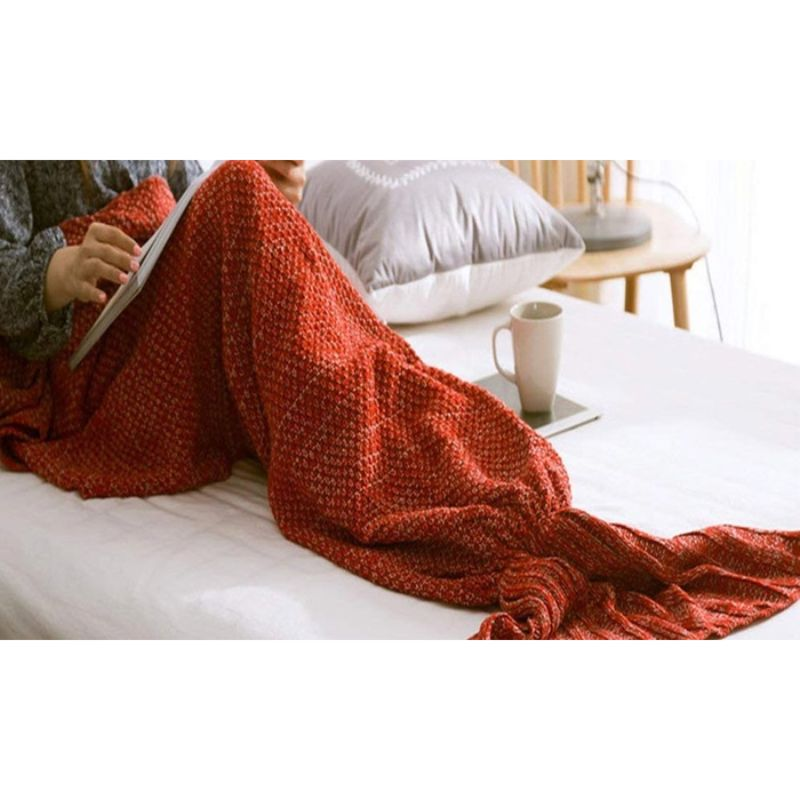 Mermaid Tail Knit Crochet Warm & Soft Blanket for Kids and Adults-Kids-Red/White/Gray-Daily Steals