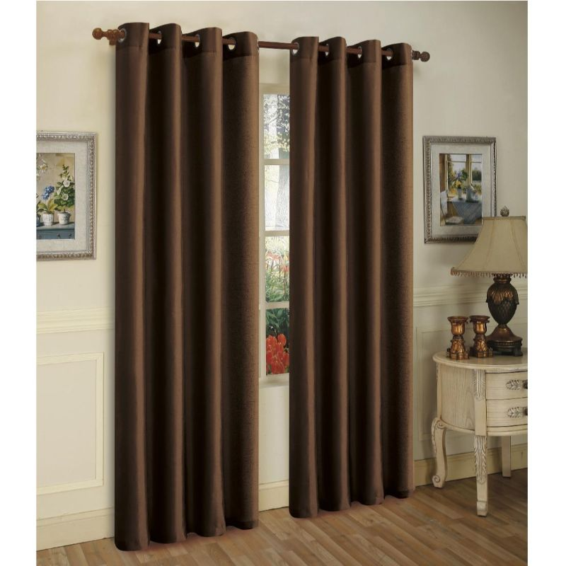 Set of Two Stylish Curtain Panels with Rod Grommets: 58 x 84 Inches-Coffee-Daily Steals