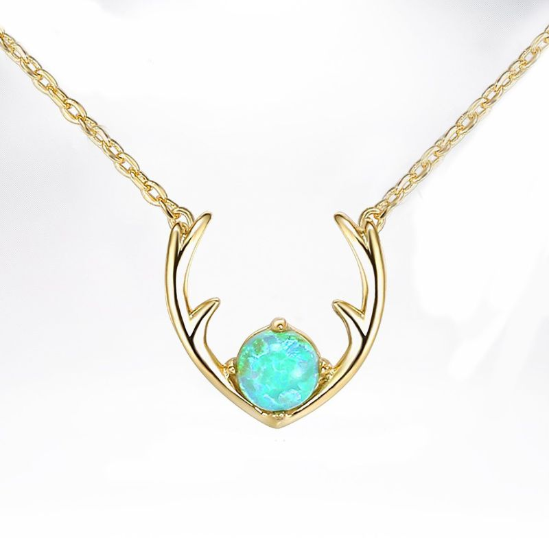 1.0 Ct Opal Created Antlers Pendant Necklace Made with Swarovski Crystals-Yellow Gold-Daily Steals