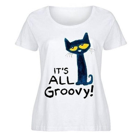 update alt-text with template Daily Steals-Comical Cat Tshirts-Women's Apparel-Small-Groovy Cat Tshirt-
