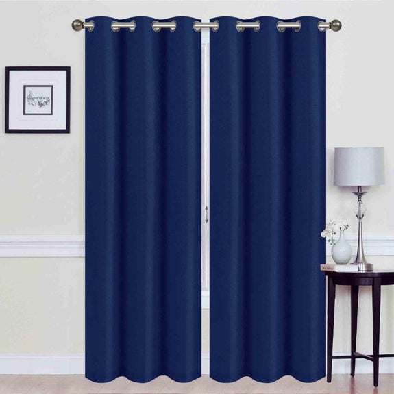 Thermal Energy-Saving Madonna Blackout Curtains - Two Panels-Blue-Daily Steals