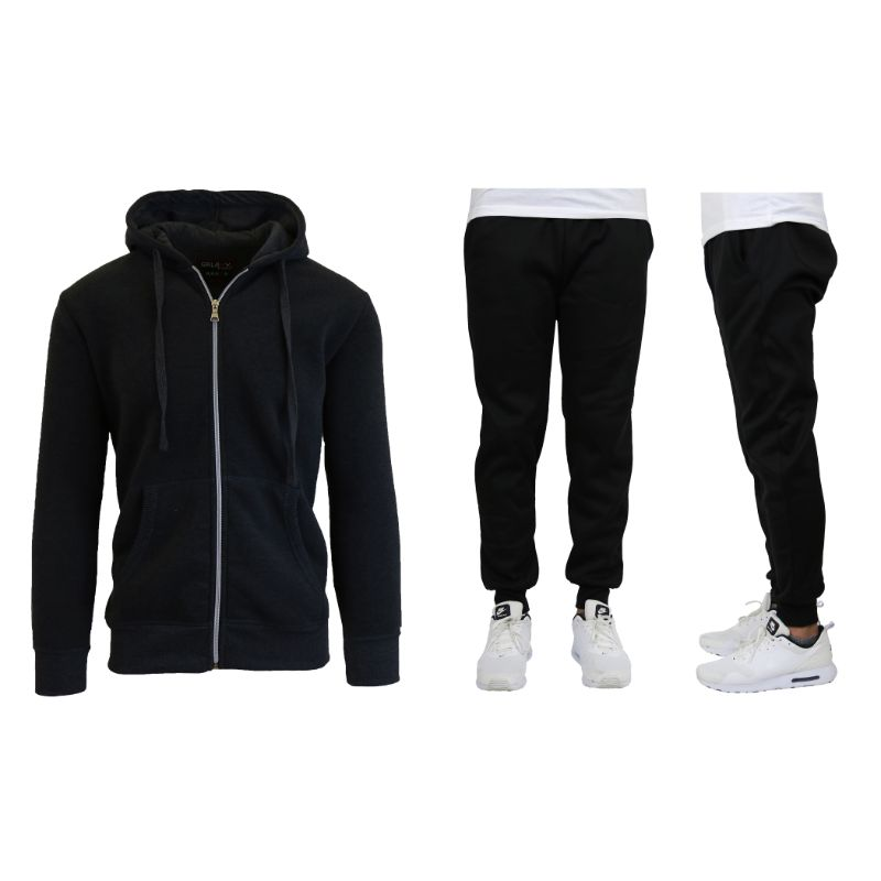 Men's Heavyweight Fleece Jogger and Heavyweight Fleece Hoodie Set-Black-XL-Daily Steals