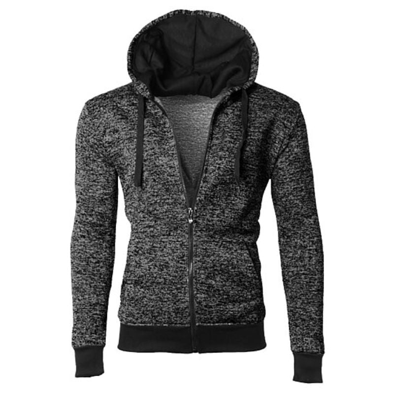 Men's Moisture Wicking Fleece-Lined Full-Zip Up Marled Hoodie-Black-Small-Daily Steals