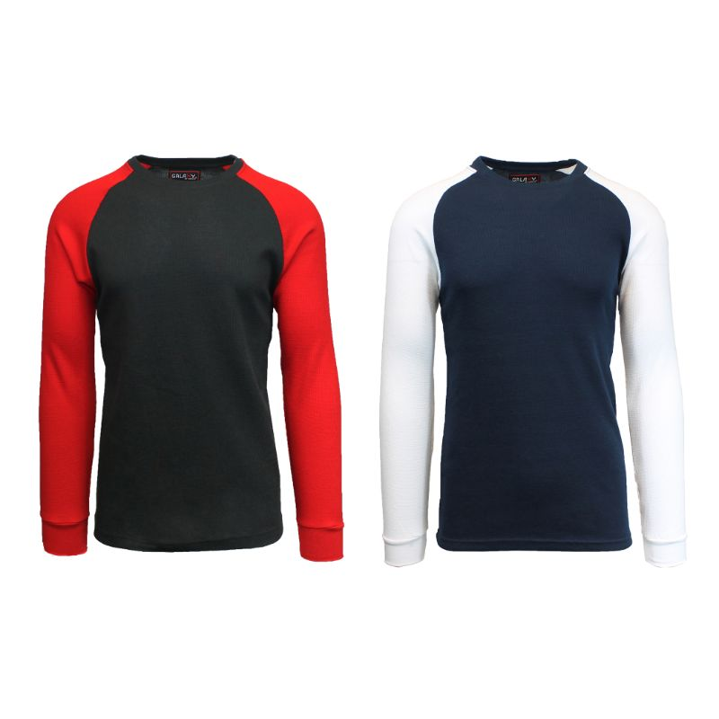 Men's Raglan Thermal Shirt - 2 Pack-Black/Red & Navy/White-Small-Daily Steals
