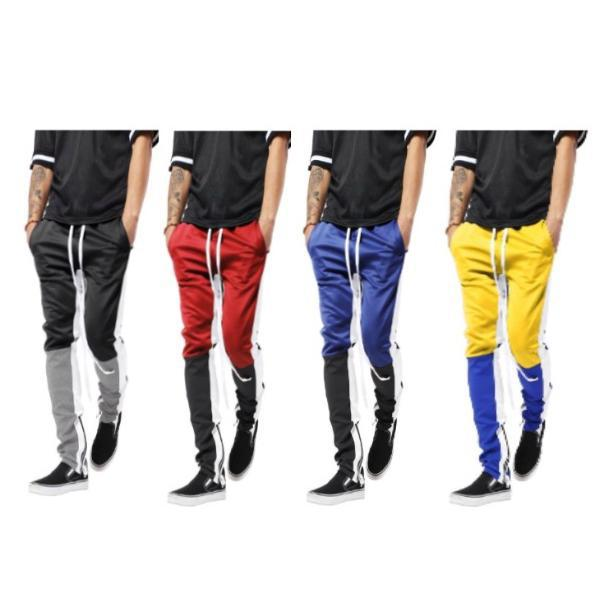Mens Three Tone Stretch Skinny Fit Zipper Jogger Pants-Daily Steals