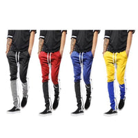 Mens Three Tone Stretch Skinny Fit Zipper Jogger Pants
