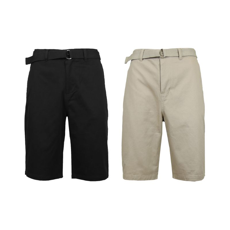 Men's Cotton Chino Shorts with Belt - 2 Pack-Black & Khaki-42-Daily Steals