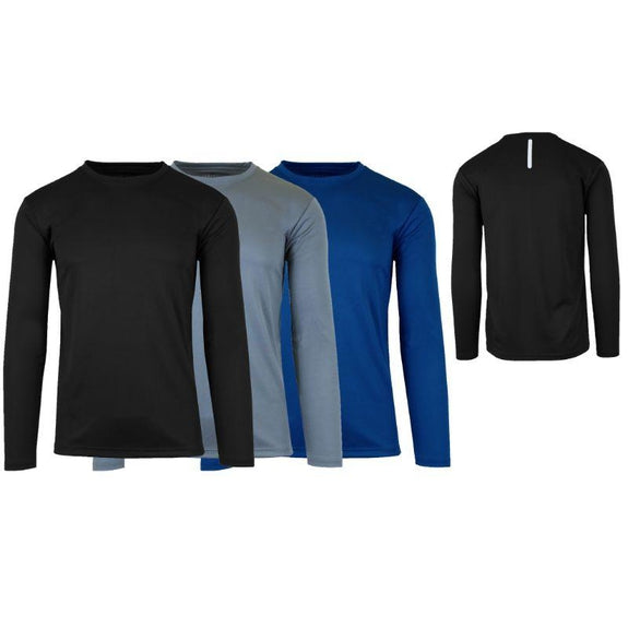 Men's Long Sleeve Moisture-Wicking Performance Crew Neck Tee - 3 Pack-Black & Charcoal & Navy-Small-Daily Steals