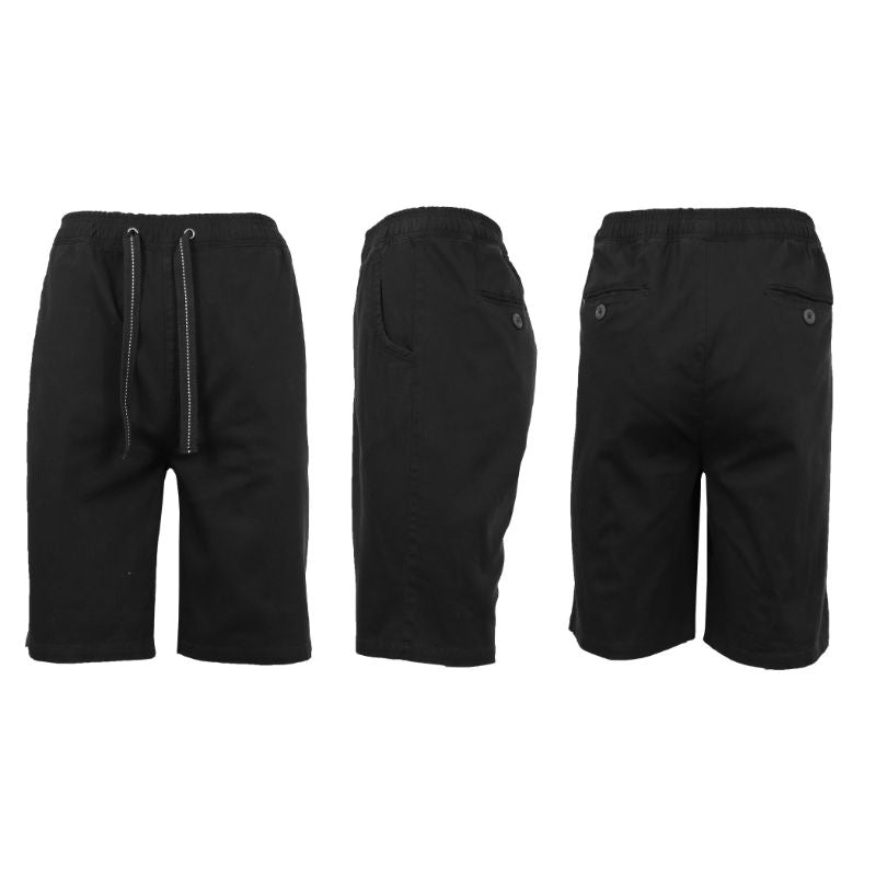 Men's Cotton Stretch Twill Jogger Shorts-Black-2XL-Daily Steals