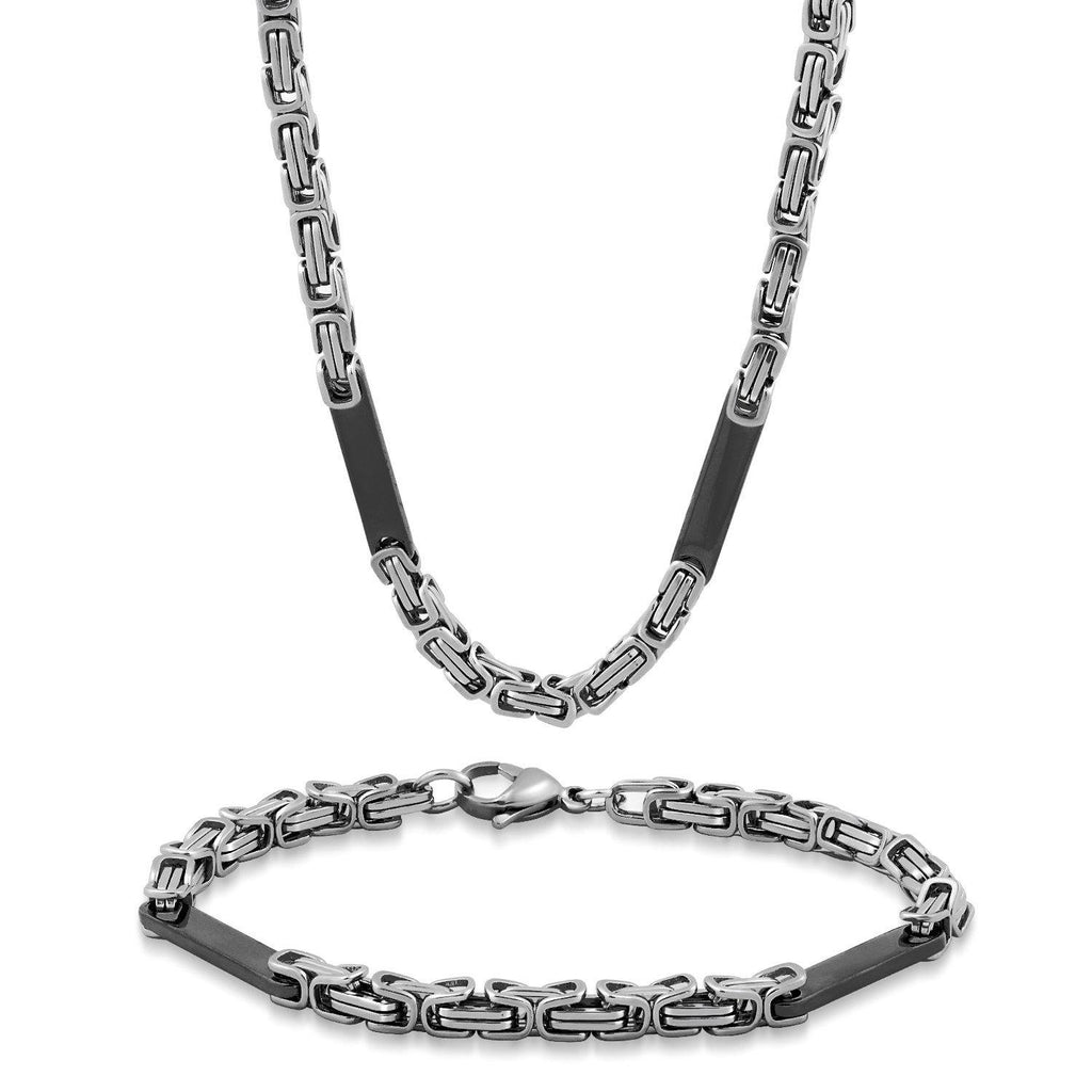 Men's Stainless Steel Small Byzantine W/ Bar Necklace and Bracelet Set-Two Tone-Daily Steals