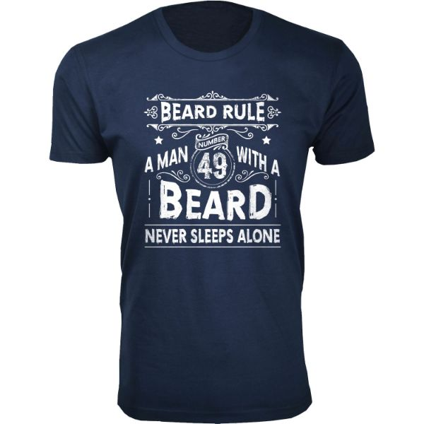 Men's 'Greatest Beard' T-shirts-S-Beard Rule A Man 49 With A Beard - Navy-Daily Steals