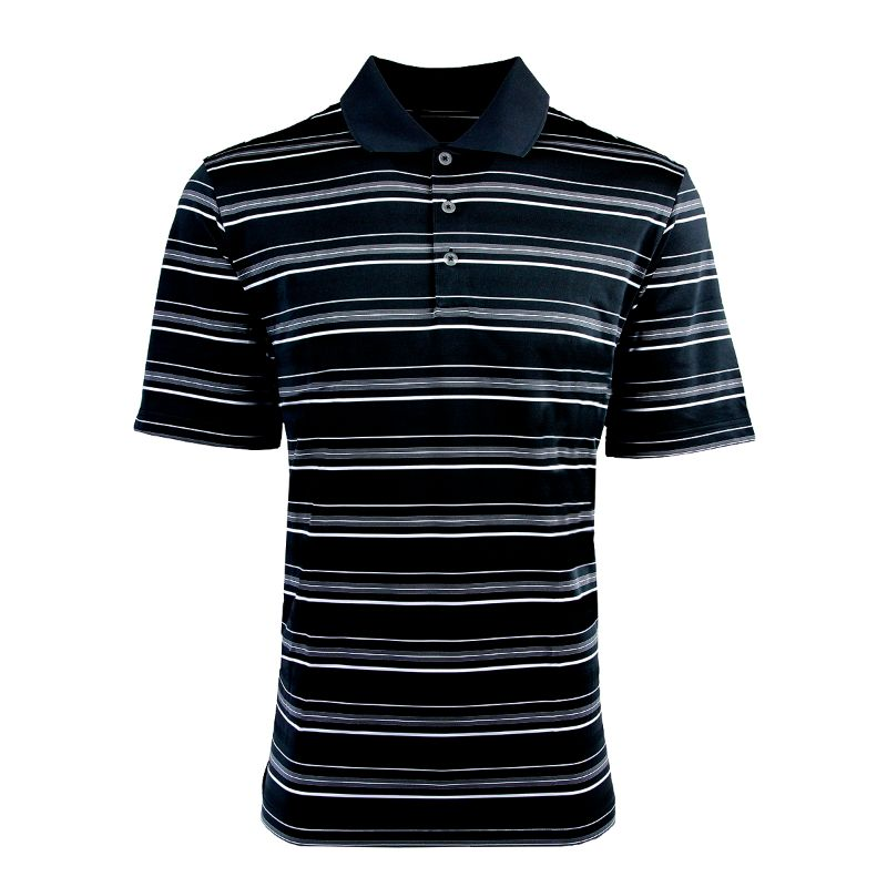 adidas Men's Puremotion Textured Stripe Polo-Black/White-S-Daily Steals