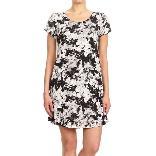 Women's Short Sleeve Summer Tunic Dress-Black & White Abstract Print-Small-Daily Steals