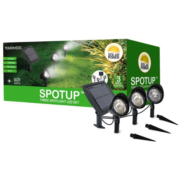 Touch Of ECO 3-in-1 Solar-Powered Spotlight Set - 1, 2, or 3 Pack-1 Set-Daily Steals