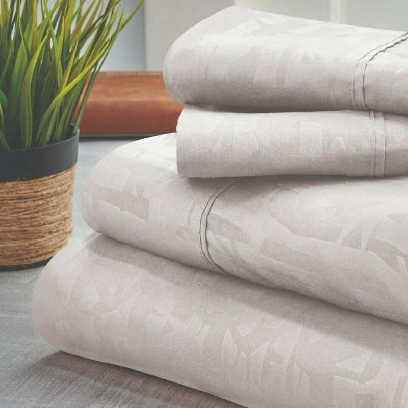 Bamboo 1800 Count Embossed Design 4-Piece Sheet Set-White-Twin-Daily Steals