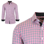 Mens Long Sleeve Slim-Fit Cotton Dress Shirts W/ Chest Pocket-Pink/Black-Large-Daily Steals