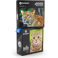 QuizQuirk 1000 Piece Leopard and 500 Piece Cute Cat Puzzle for Adults