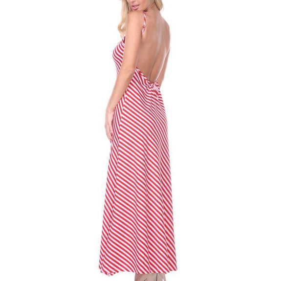 Backless Striped Maxi Dress-Daily Steals
